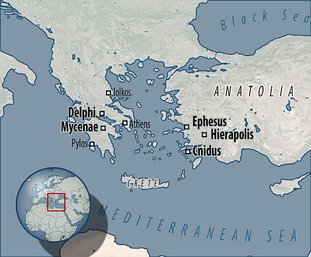 The new study shows how cities and sacred cities across the Aegean region are specifically located above earthquake fault lines. Delphi and Mycenea in Greece, and Ephesus, Hierapolis and Cnidus in Turkey are all included