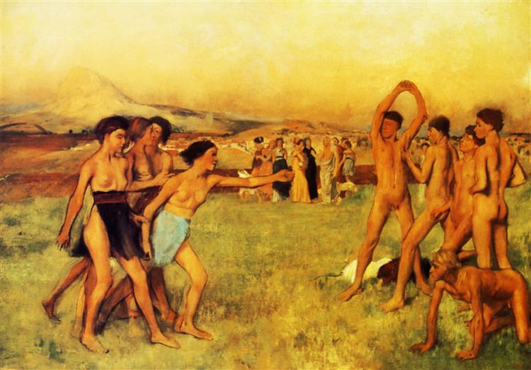 Spartan Girls Challenging Boys (1860) Edgar Degas