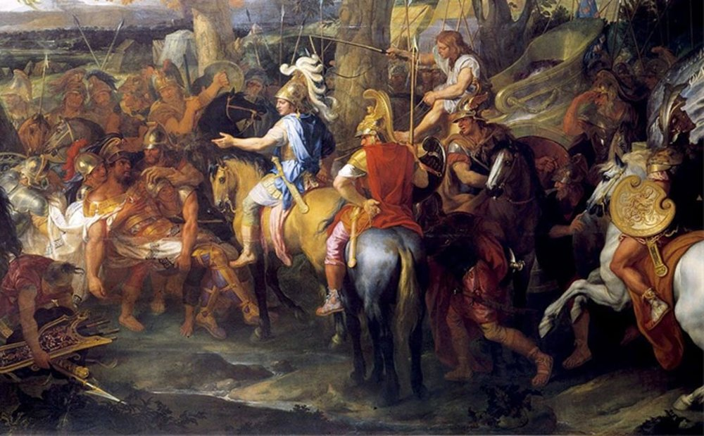A painting by Charles Le Brun depicting Alexander and Hephaestion (in red cloak),