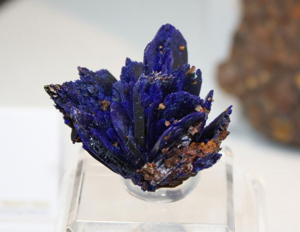 Blue azurite, a deep blue copper mineral produced by weathering of ore deposits, found in the ancient mines of Laurion.D.BRESSAN