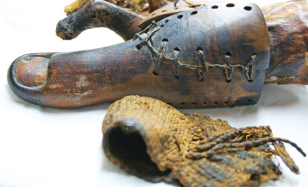 False toe on mummy found near Luxor. Egyptian Museum