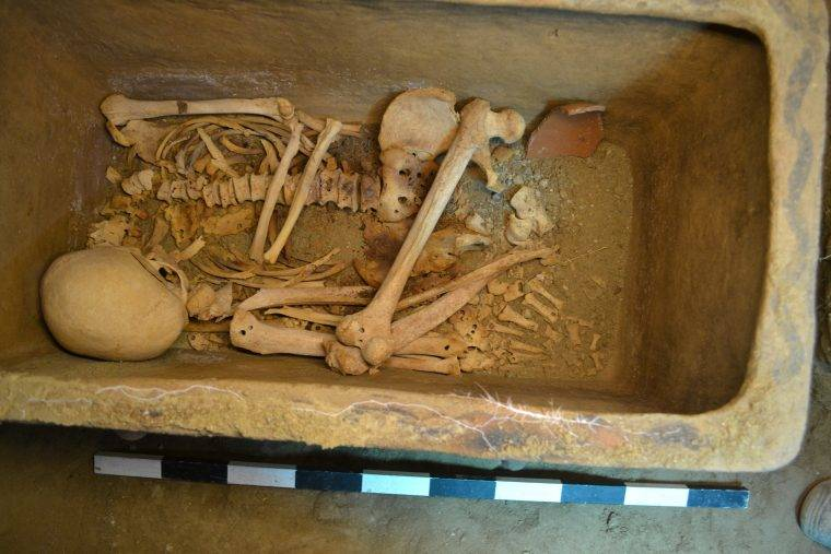 A look inside the coffin of one of the two Minoans buried in the 3,400-year-old tomb.