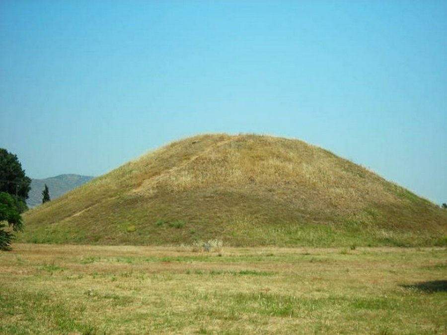 Mound ( soros ) in which the Athenian dead were buried after the battle.