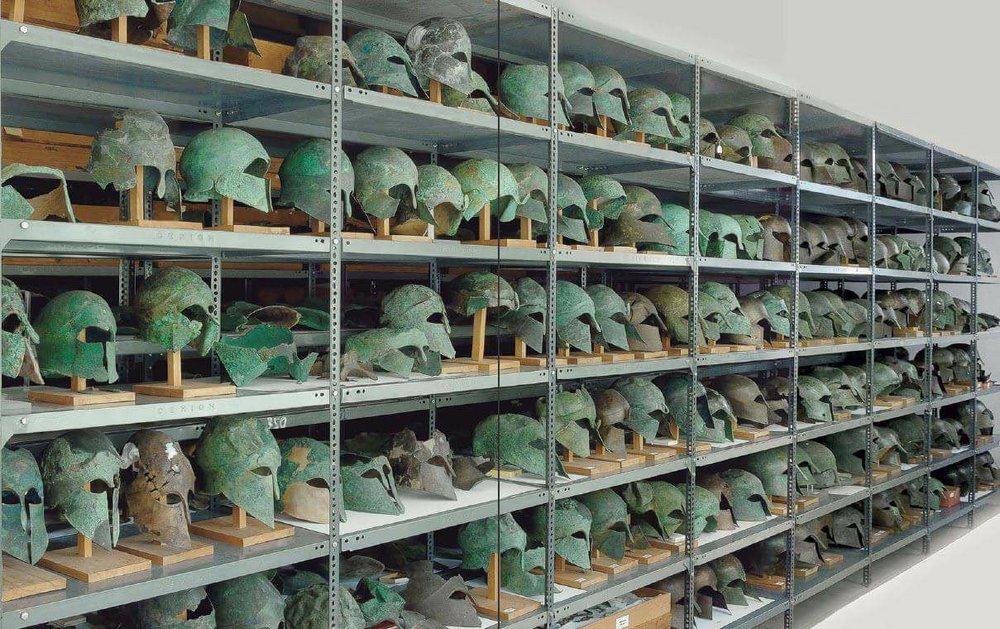 Olympia Museum Greece., Bronze store room Chalkotheke