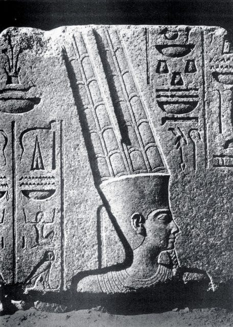 Depiction of Amun in a relief at Karnak, 15th century BC.
