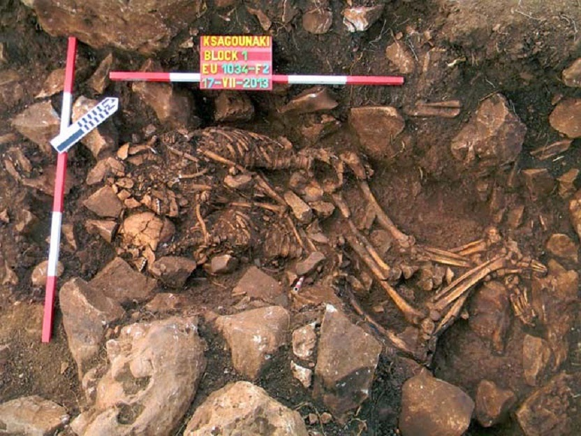 A rare double undisturbed burial of two young adults, a man and a woman, in an embracement position was found in the Diros Caves [Credit: Greek Ministry of Culture,Education and Religious Affairs]
