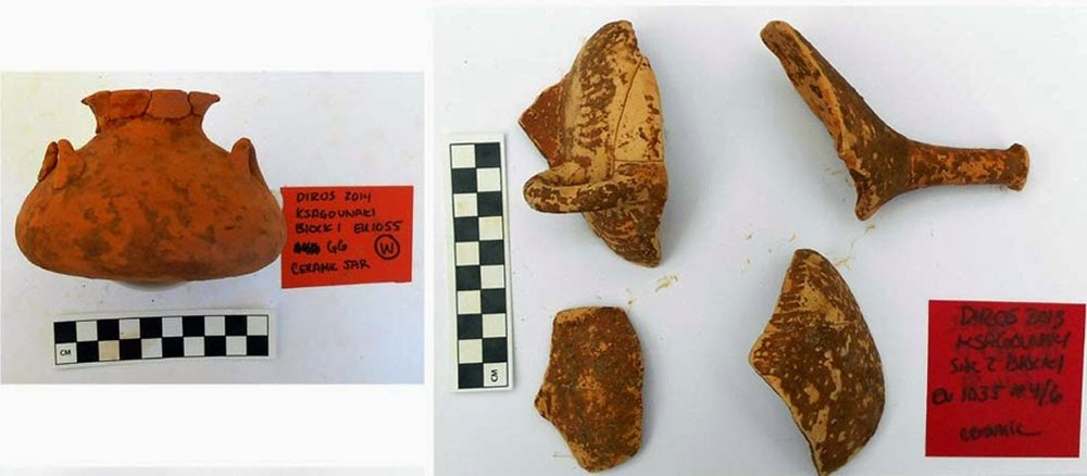 Mycenaean period pottery from the excavations at the Xagounaki site at Diros    [Credit: Greek Ministry of Culture, Education and Religious Affairs]