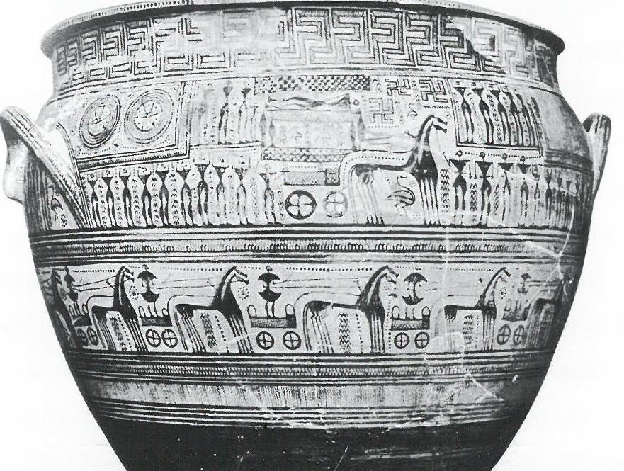 Fig.11: Hirschfeld Krater. Scene depicting  ekphora  and a chariot race. Funeral of Patroclus? Source: John Boardman 1998.