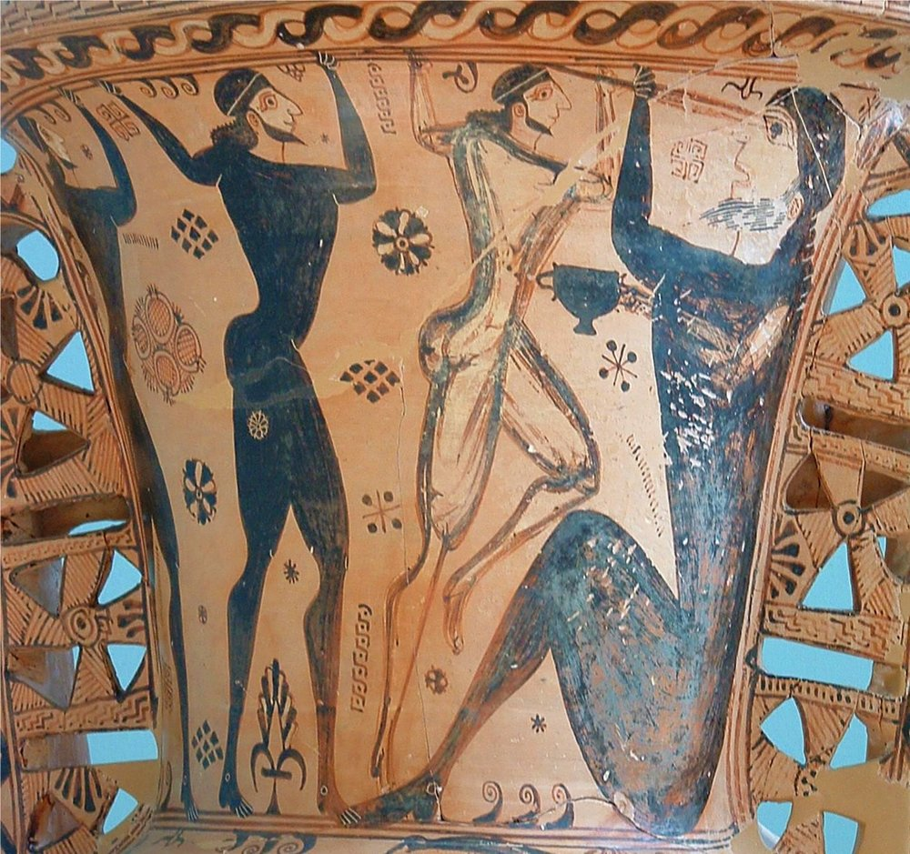 Fig.13: Proto-Attic Amphora depicting the blinding of Polyphemus by Odysseus and his soldiers. Found in Archaelogical Museum of Eleusis. Author: Napoleon Vier 2003.
