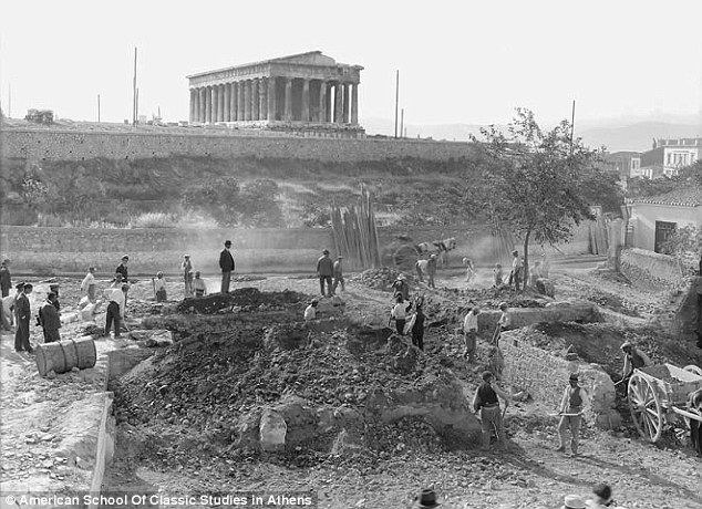 Archaeologists excavating the agora in Athens discovered a well hewn into the rock that contained the remains of 450 babies and 150 dogs. The image above shows the first day of excavation in 1931