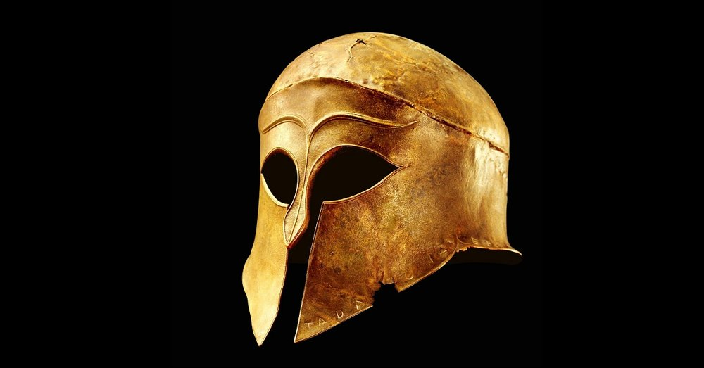 A Greek helmet from the fifth century B.C. At the peak of their power, the Spartans defeated the Persian army, and then turned their ire on neighboring Athens.