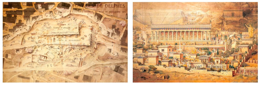Left:  Excavation status at Delphi in November 1893.  Right:  In 1894, Albert Tournaire painted how he imagined the Santuary of Apollo appeared in Ancient Greece.