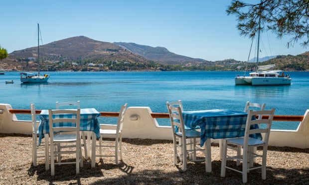 Leros has its share of beachside tavernas, such as this one on Koulouki beach in the Lakki gulf. Photograph: George Papapostolou/Getty Images