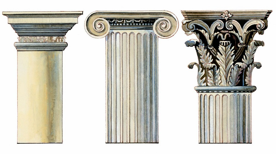 There were three main designs of columns in Greek architecture - Doric (left), Ionic (middle) and Corinthian (right).