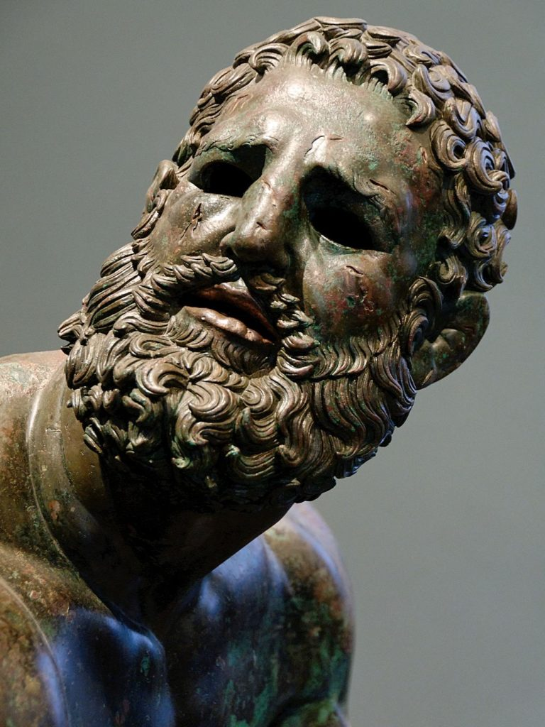 Boxer at Rest, c. 330 to 50 BCE, bronze statue, Palazzo Massimo alle Terme, Rome, Italy, detail, source: Wikimedia Commons