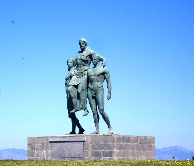 A statue in Rhodes of Diagoras being carried into a stadium by his sons Damagetos and Akousilaos.      Photo: rhodesprivatetours.com