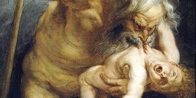 Grécky Kronos boh žerie dieťa