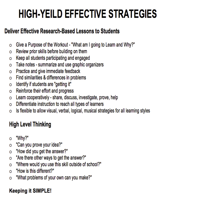 High Yield Effective Strategies These strategies have the greatest positive affect on student achievement for all students, in all subject areas, at all grade levels