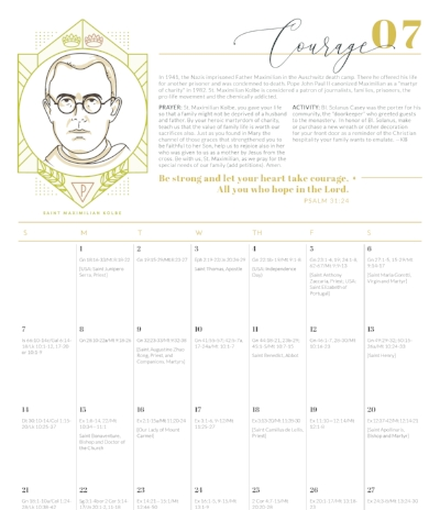 Year of Virtue Liturgical Calendar - Providential Co Kolbe