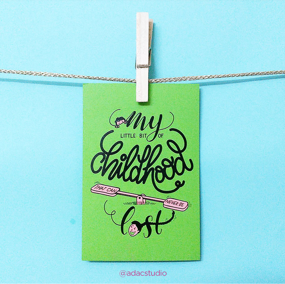 """My little bit of childhood that can never be lost! Revive your childhood memories by writing a note to your sibling at the back of this card this Raksha Bandhan! Screen printed with love @adacstudio Size: 3.75"""" x 5.7"""" Paper: 250 GSM, popat green Shipping:FREE SHIPPING.Delivers only within India. Delivery time: Between 4-7 working days. Price: Single card for Rs.120"""