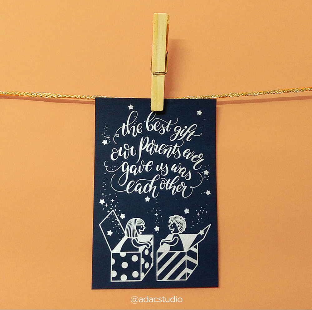 """Best gift! Gift this card to the best and most cherished gift you have ever received from your parents! Your box full of goodness. Screen printed with love @adacstudio Size: 3.75"""" x 5.7"""" Paper: 250 GSM, navy blue Shipping:FREE SHIPPING.Delivers only within India. Delivery time: Between 4-7 working days. Price: Single card for Rs.120"""