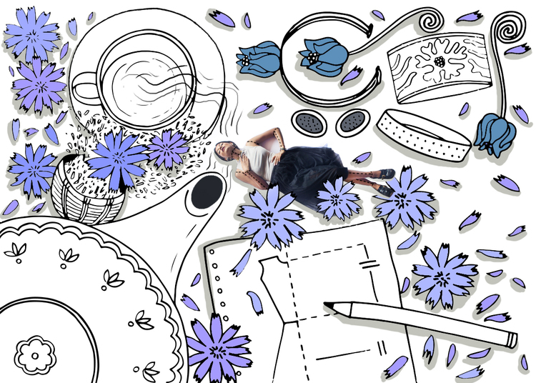 Table 8/20 | Chicory chai's #worktable   Designer's inspiration + Mood board: craftsmanship, emotions & emancipation, romanticism | 'Chicory' in the brand's name is the blue flower of chicory plant that was a symbolism of this movement.