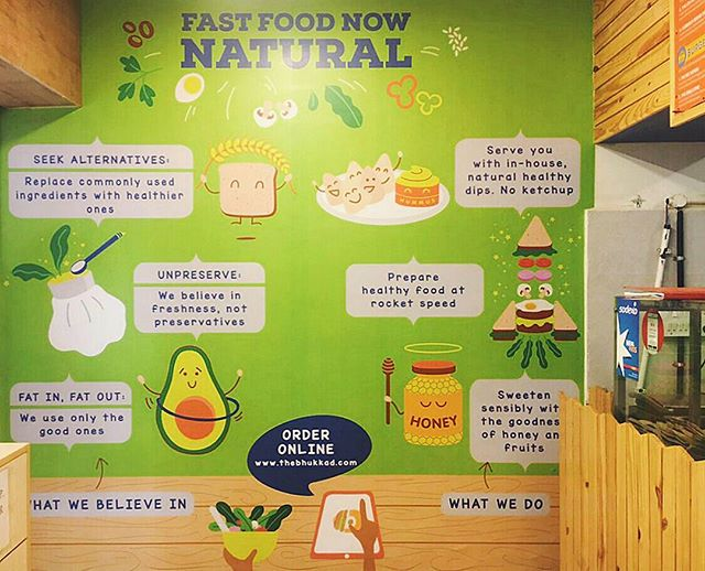 Super healthy wall artwork at Bhukkad's newly opened store in Banglore!  Wall Artwork for @bhukkad_in Natural Fast Food Post: 9/9 (project link in bio)  Illustration and food. Two things we love have come together while designing for Bhukkad.  Bhukkad is a fast food brand based in Bangalore, India that is affordable, provides quick service and most importantly serves natural and healthier fast food. They believe in making food fresh. Adding less preservatives. Keeping it as wholesome & natural as possible and keep innovating.  To know more about them, head to their website: thebhukkad.com  Our association with Bhukkad has been a long term one since 2013. We have designed almost all their brand communication on an ongoing basis.  This is a wall artwork we designed for their newly opened store in Koramangala, Bangalore based on their above beliefs and principles.  It has always been a huge pleasure working with Aruj (the founder) and his team. They always give us detailed clear briefs, crisp on point feedback, always schedule calls before calling us, and overall fully understand our work ethics. It's an honor and pleasure to be associated with them, and see them grow making people healthier one meal at a time.  Mentor, Art Direction: @ankitanshide Illustration, Design: @namrata_bhagat_02 #illustration #graphicdesign #wallartwork #wallart #wallgraphic #foodillustration #bhukkad #fastfood #healthy #healthyeating #naturalfood #restaurantbranding #restaurantinterior