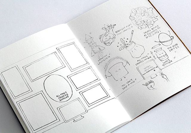 Layout sketches. Wall Artwork for @bhukkad_in Natural Fast Food Post: 8/9 (project link in bio)  Illustration and food. Two things we love have come together while designing for Bhukkad.  Bhukkad is a fast food brand based in Bangalore, India that is affordable, provides quick service and most importantly serves natural and healthier fast food. They believe in making food fresh. Adding less preservatives. Keeping it as wholesome & natural as possible and keep innovating.  To know more about them, head to their website: thebhukkad.com  Our association with Bhukkad has been a long term one since 2013. We have designed almost all their brand communication on an ongoing basis.  This is a wall artwork we designed for their newly opened store in Koramangala, Bangalore based on their above beliefs and principles.  It has always been a huge pleasure working with Aruj (the founder) and his team. They always give us detailed clear briefs, crisp on point feedback, always schedule calls before calling us, and overall fully understand our work ethics. It's an honor and pleasure to be associated with them, and see them grow making people healthier one meal at a time.  Mentor, Art Direction: @ankitanshide Illustration, Design: @namrata_bhagat_02 #illustration #graphicdesign #wallartwork #foodillustration #bhukkad #fastfood #healthy