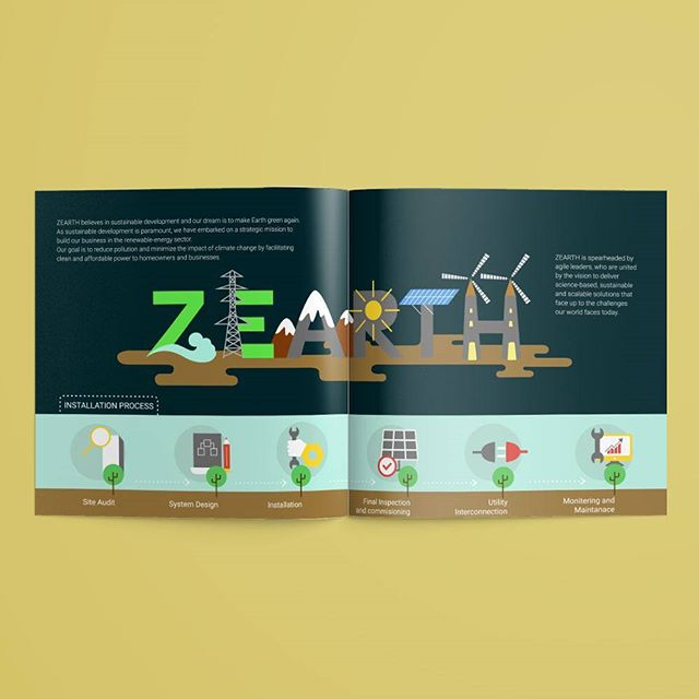 Zero Emission Earth is what ZEARTH means. And they are taking every possible effort to make this dream come true. With their highly sustainable energy solutions, they face up to the challenges that our world faces today. (Post 2/6) Here is a brochure design for this amazing step in making our future more brighter by ZEARTH clean power resources. (link in bio)  As humans, we all wish to have our houses resourceful, clean and sustainable. But with time, all of us are forgetting that Earth is our first home and we are almost draining all the available resources from our planet Earth and making it look duller and hazardous. ZEARTH believes in sustainable energy and they are doing their part in making our planet greener. As a renewable energy provider, sustainability is the focus of their business. Their goal is to reduce pollution and lessen the impact of climate change by making clean power, affordable enough to be adopted by homeowners and businesses.  #brochure #brochuredesign #graphicdesign #illustration #earth #zearth #climatechange #globalwarming #Sustainableenergy #CleanEnergy #Recycle #Reuse
