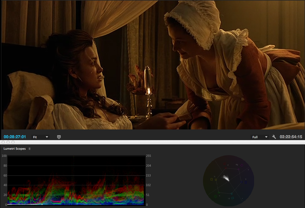 Warm yellow/orange look of fire: Here the scene is 'lit' by candle light. Take note of the waveform: everything is under 60IRE except the candle.