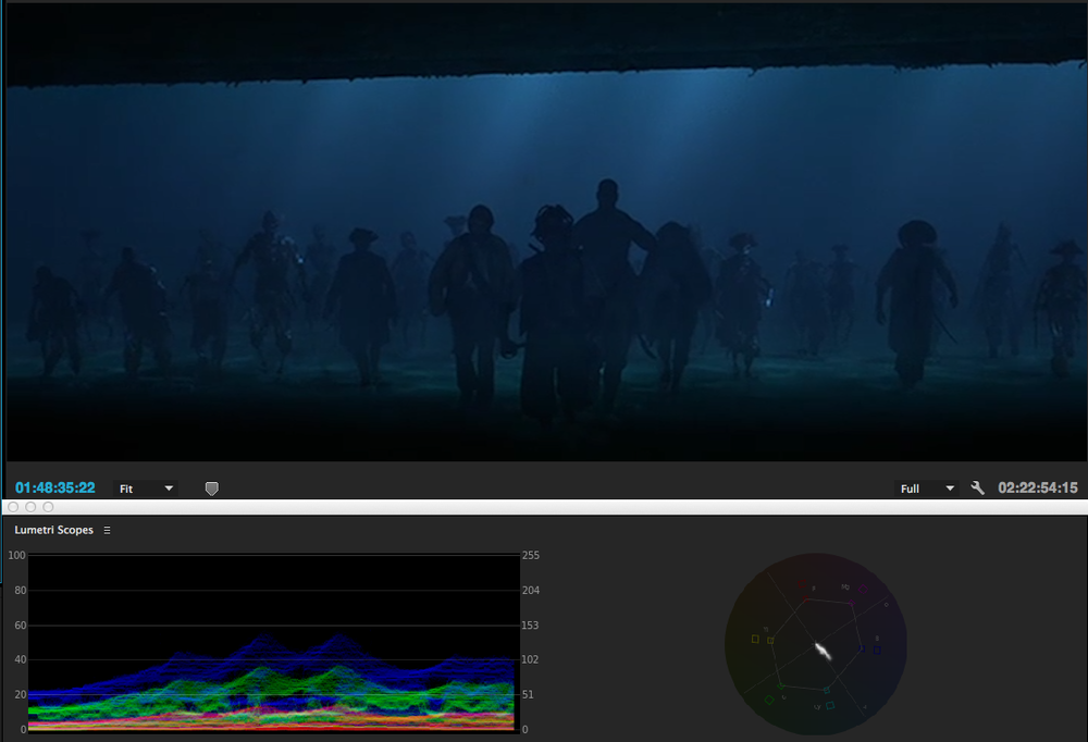 Cool blue/green look of moonlight: This is underwater, but the moonlight is more important than the water aspect, therefore the grade has the moonlight look.