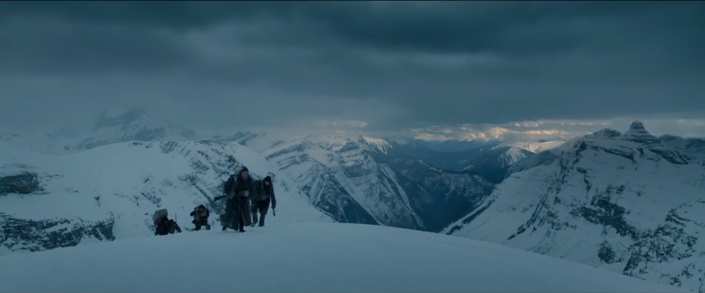 The film has a bluish/cyan look and tends to be dark. In this shot the snow is even dark, around 55IRE