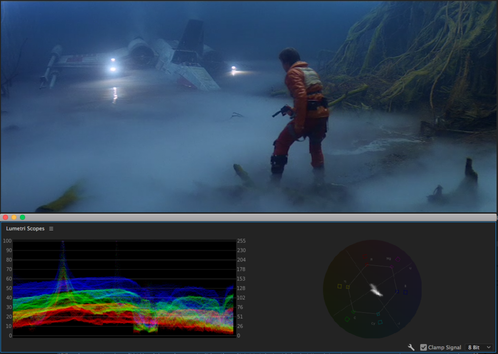 Blues of Dagobah. Much darker in values than the Hoth sequence.