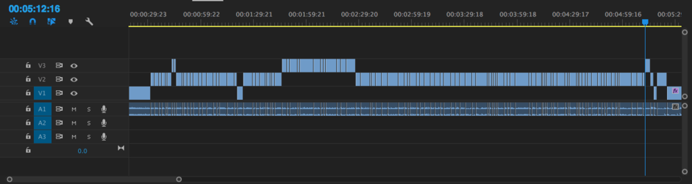 Here is the first scene broken down in a timeline. V1 is wide shots, V2 the OTS's, and V3 is all the CU's.
