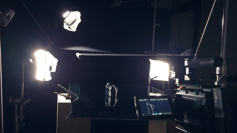 This is the lighting setup for the opening shot. The moving light is not present, but was moved back and forth above the 2x3 flag.