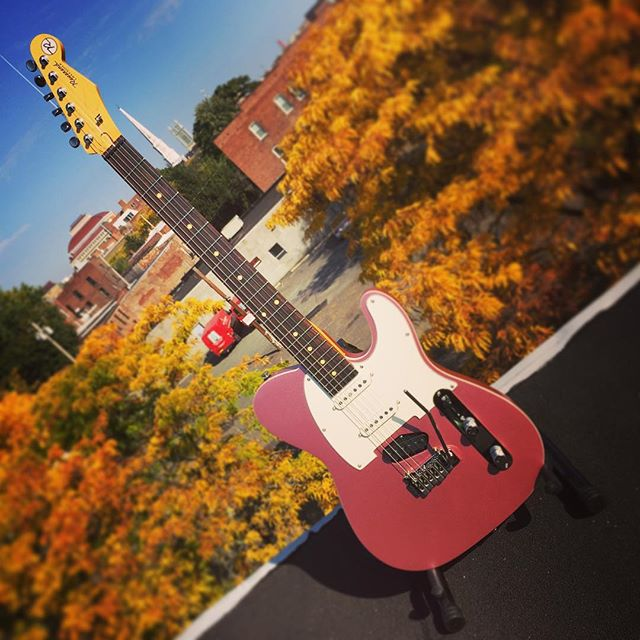 Autumn in New York with a Reverend Eastsider S in Satin Mulberry Mist #reverendguitars #eastsider #eastsiders #tele #telecaster #mulberrymist #enjoytroy #troysavingsbankmusichall