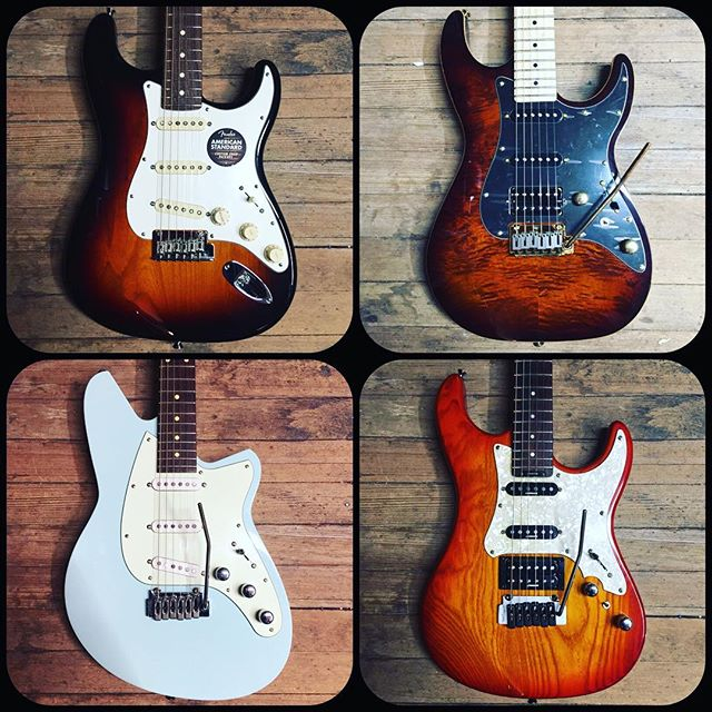 Fender American Standard Stratocaster, Michael Kelly CC60 Burl Burst, Reverend Six Gun in Chronic Blue, Blade Levinson California.