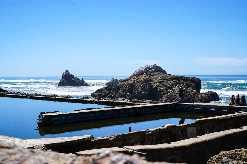 The remaining pools of the Sutro Baths, overlooking the Pacific Ocean at Lands End.