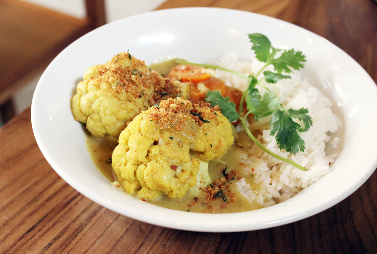 Curried Cauliflower & Sweet Potato Rice Bowl.