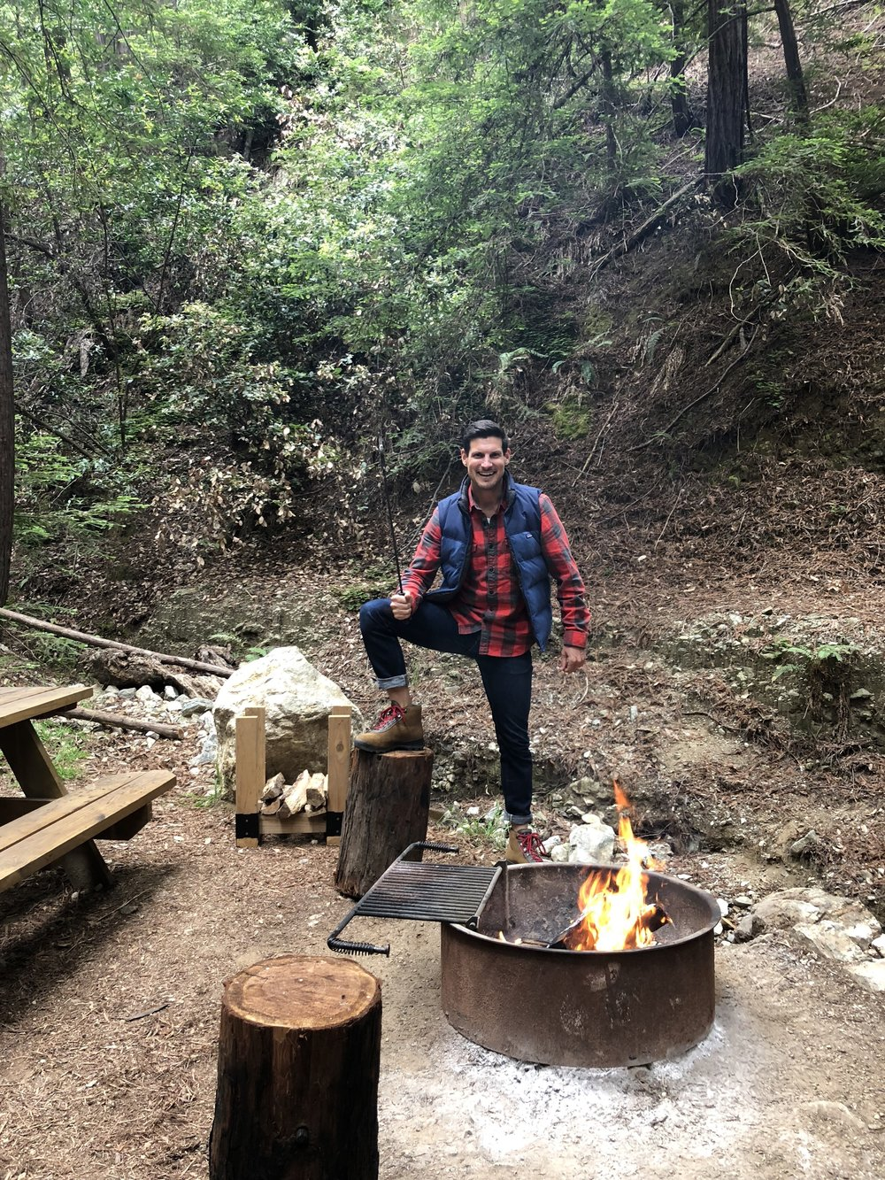 Daniel in his element, Glamping at Ventana, Big Sur.