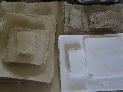 stacks of handmade paper