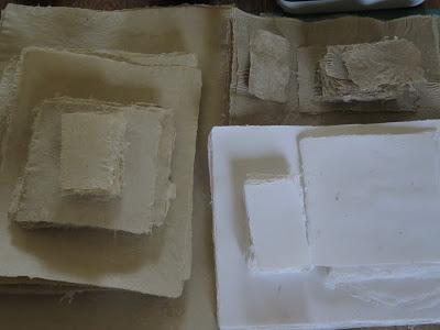 stacks of handmade paper