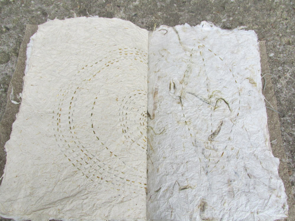 here's a single signature booklet with lots of handmade sheets, stitched with natural dyed silk