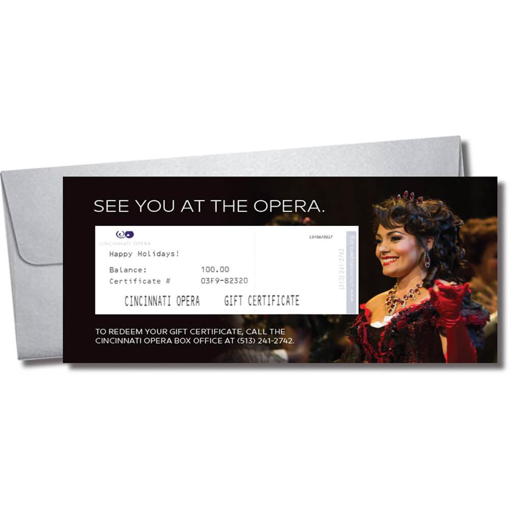 Cincinnati Opera Gift Certificate