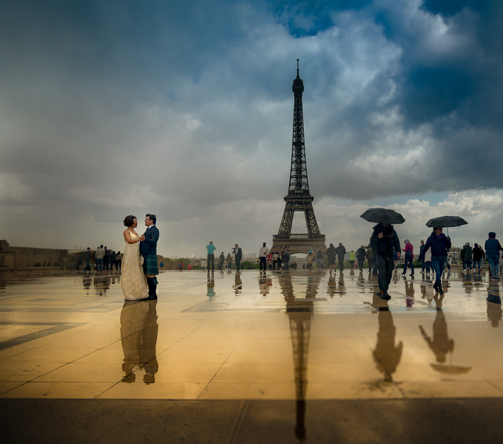 chris wallace destination wedding photography post trash rock the dress paris eiffel tower trocodero reflection 1500 at the end of the storm-2
