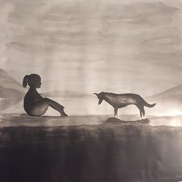 """My newest painting, called """"Trust"""". #arttherapy #hanalokahi #hanalokahitherapy #indiaink #trust"""