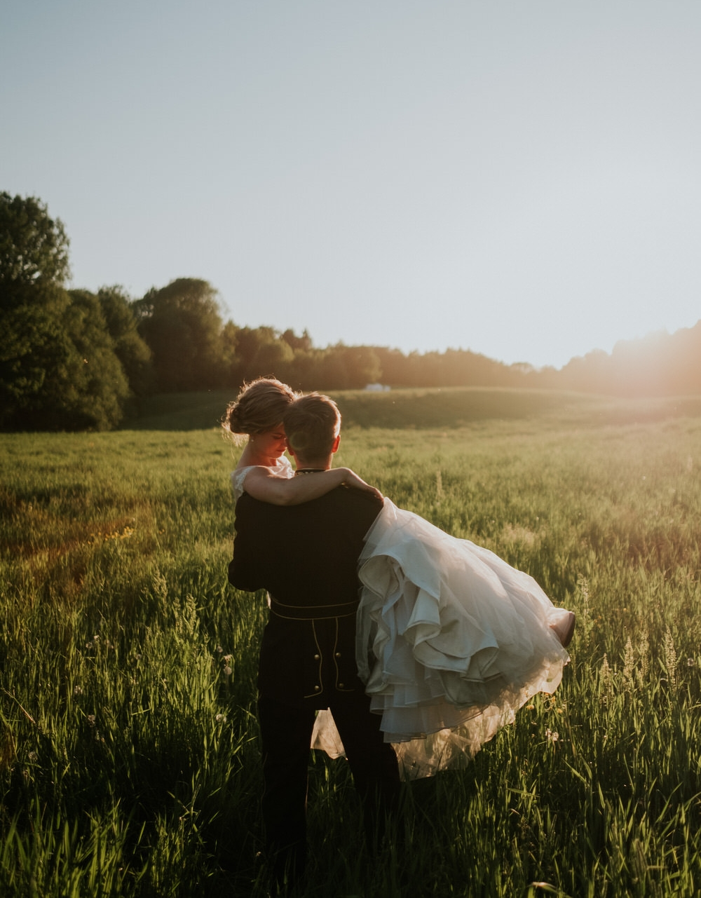 Bridal portrait in golden field