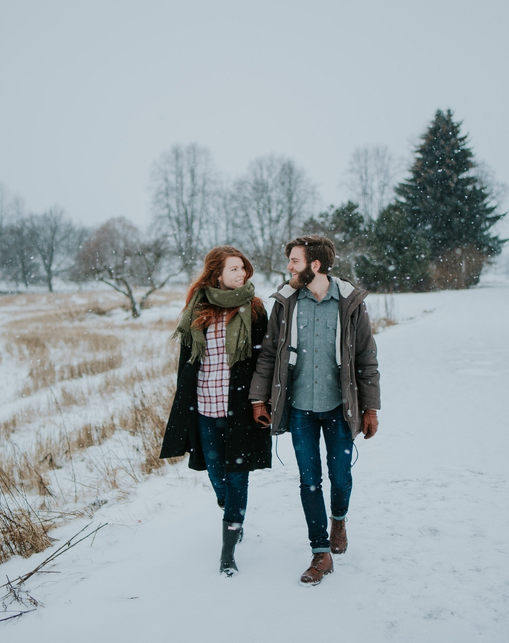 Snowy winter couple shoot
