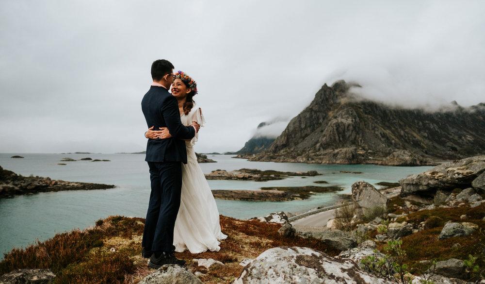 Couple embracing Lofoten wedding