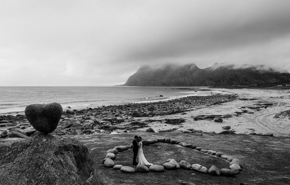 Heart shaped rocks on Uttakleiv beach in Lofoten
